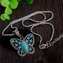 H:HYDE Trendy Lady Exquisite Butterfly Women Stone Stone Pendant Necklace Rhinestone Crystal Long Chain Jewelry