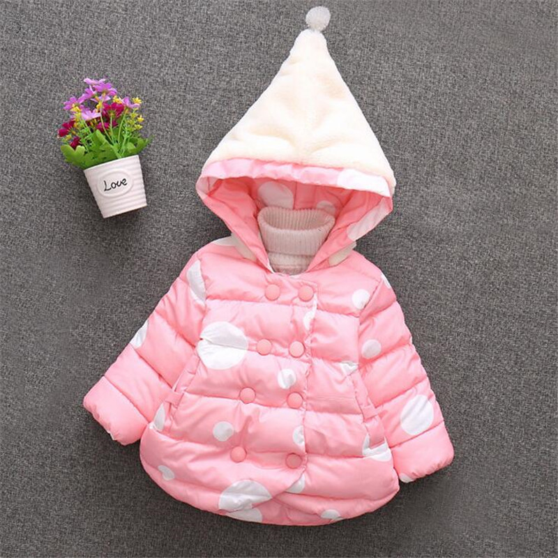2017 fashion baby girl outerwear cute polka dot hooded princess coat for winter soft comfortable clothing<br><br>Aliexpress