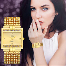 Top Luxury Band Womens Watches 2017 Full Stainless Steel Quartz Watch Rhinestone Crystal Analog Wrist Watch relogios femininos(China)