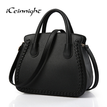 iCeinnight 2017 women bag high quality leather casual lady messenger bags with long belt cross body luxury solid shoulder tote