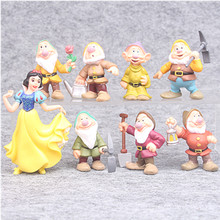 Disney Toys 8pcs/Set 5-10cm Seven Dwarfs And Princess Snow White Pvc Action Figure Doll Cake Toy Landscape Decor Birthday Gifts