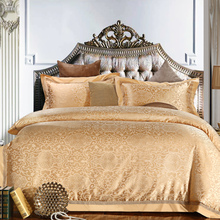 Blue purple gold Luxury jacquard bedding set cotton bed cover bed sheet set queen king size duvet cover bed linen pilowcases(China)