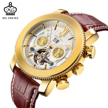 MG. ORKINA Luxury Golden Stainless Steel Case Brown Leather Belt Date Display Tourbillon Auto Mechanical Men's Wrist Watch