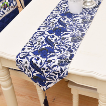 HAKOONA Netherlands  Blue Floral Table Runners high Quality Lace Table Runners Tassel 2 Types Home Kitchen Decoration 30*180cm