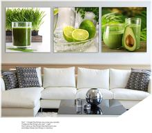 Triptych Green Lemon Fruit Modern Wall Painting Canvas Printed Lemon Picture For The Kitchen Home Decoration Painting Cheap(China)