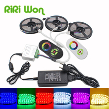 15M 10M 5050 RGB LED Strip Light 5M Non Waterproof SMD 5050 RGB Flexible Bar Light+RF Controller+DC12V Power