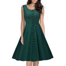 Fashion Women Summer O-Neck Put on A Large Sleeveless Slim Green Single-Breasted Dress Casual Bodycon Party Club Elegant Dresses(China)