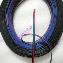 50m/lot 4 pin connector 4 wire rgb electric cable extension cord for RGB 3528 5050 led strip lighting accessories flat wire cord