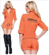 New Fashion Prisoner Costume Women Sexy Convict Orange Outfit Adult Funny Halloween Fantasia Fancy Dress M XL one size