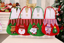 DHL120pcs Chrismas Santa Claus Kids candy gift bags Toy Pouch Wedding Sack Present Christmas  Toys Best Gift