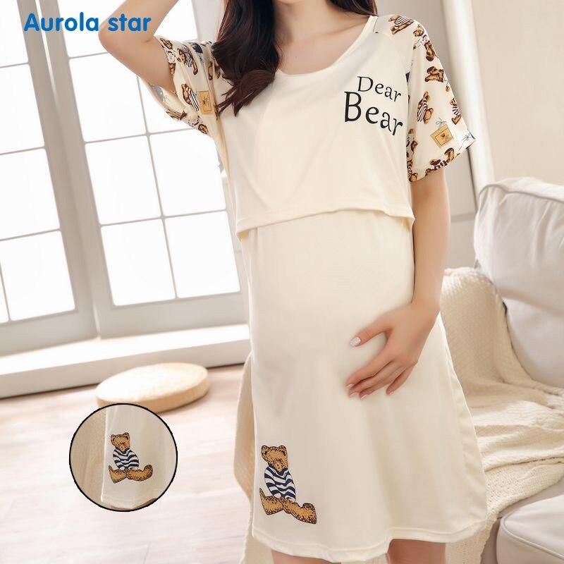 Maternity dress nursing pajamas funny AS1695 bear 001