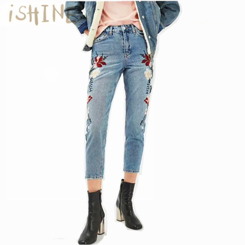 iSHINE flower embroidery jeans female Light blue casual pants capris autumn winter Pockets pencil jeans women bottomОдежда и ак�е��уары<br><br><br>Aliexpress