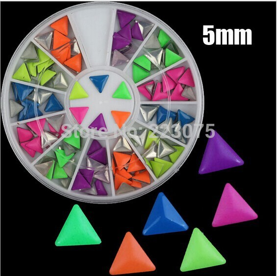 New triangle 5mm Nail Art 3D Studs Punk Style Neon Decoration Tip For Manicure Decor 3 cases/lot<br><br>Aliexpress
