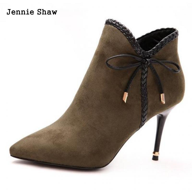 2017 Autumn Pointed High Heels Ankle Boots Shoes Women Sweet Bow Short Boots Sys-1334<br>