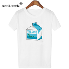 Antidazzle Customize Summer Women T shirt Missing milk box Hipster Design O-neck T-shirt Tees Tops Funny Cool Summer White(China)