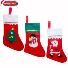 5Pieces Thicken Christmas Stocking Decoration Santa Claus Snowman Deer Christmas Gift Candy Bag Indoor Xmas Decor Sock Discount(China)