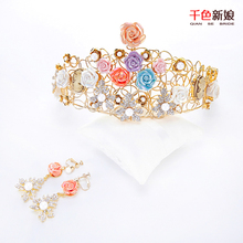 Gorgeous Ceramic flower Crown Women Crystal Tiara golden Hair ornaments Pearl Princess Corona wedding accessories Gifts xinlian(China)
