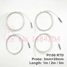 2x PT100 Platinum Resistance 3mm*20mm  RTD Sensor MINI Temperature Probe -40~400 Degree with 1 meter 2m 5m High Temperature Wire