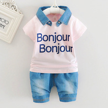 Children clothing boy summer suit new middle and large children cotton T-shirt children summer short-sleeved baby two-piece(China)