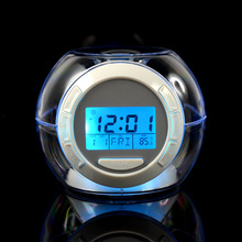 7 Color Changing LCD Alarm Clock Projection with 6 Sounds LED Night Light Gift