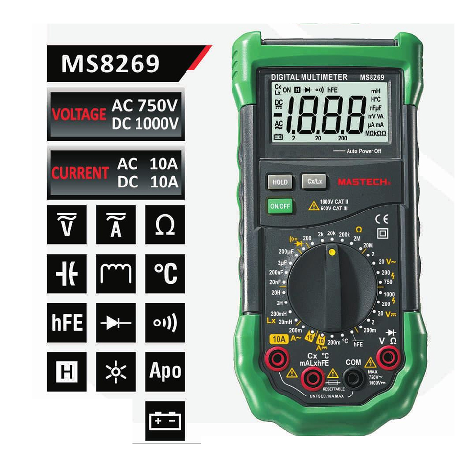 Mastech MS8269 3 1/2 Digital Multimeter LCR Meter AC/DC Voltage Current multifunctionTester Inductance Detector<br>