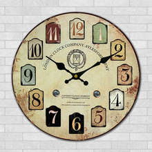 30cm Wooden Wall Clock Modern London Fashion Wall Decor Clock Vintage Shop Bar Home Decoration Clock with Multi-color Number(China)