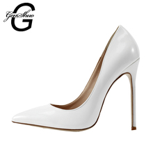 GENSHUO Women Shoes White High Heels Shoes For Women Pumps 10 12CM Bridal Stiletto Evening Formal Prom Shoes for Club Size 35-42(China)