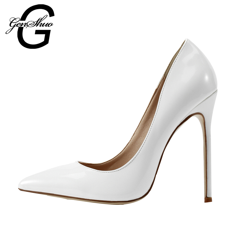 GENSHUO Women Shoes Ladies White High Heels For Women Pumps 10 12CM Bridal Stiletto Evening Formal Prom Shoes Club<br>