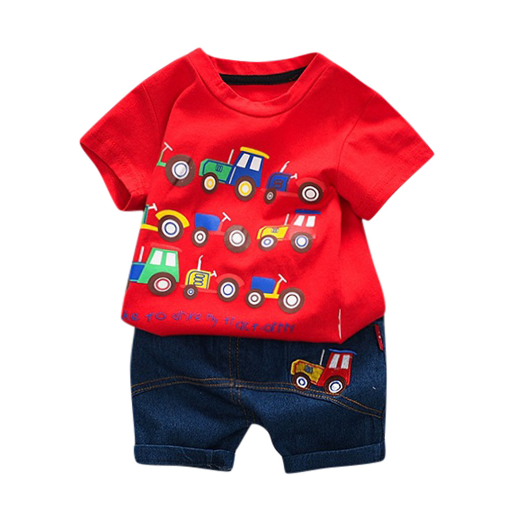 Childrens Short Sleeve Cartoon Dinosaur Print Tops T-Shirt 18-24 Months, Green Baby Boy 2Pc Outfits Jeans Set for 0-3years