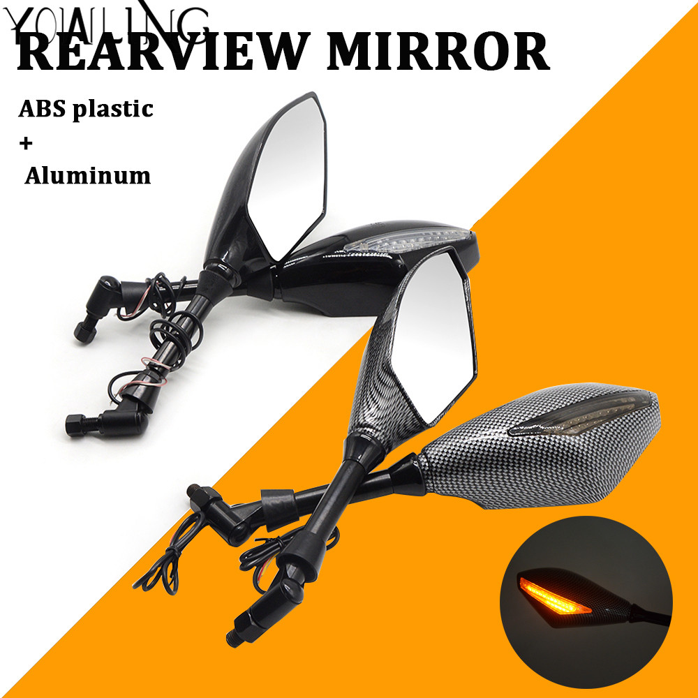 8MM 10MM Motorcycle LED Turn Signal Light Rearview Mirrors For Yamaha MT09 MT 09 Tracer XJ6 FJR XJR 1300 TMAX 530 500 YZF R1