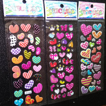 2017 Fireman Sam Pegatinas 1pcs Children Cartoon Bubble Stickers Cute Baby Peach Painting 3d Stereo Heart Shape Toys