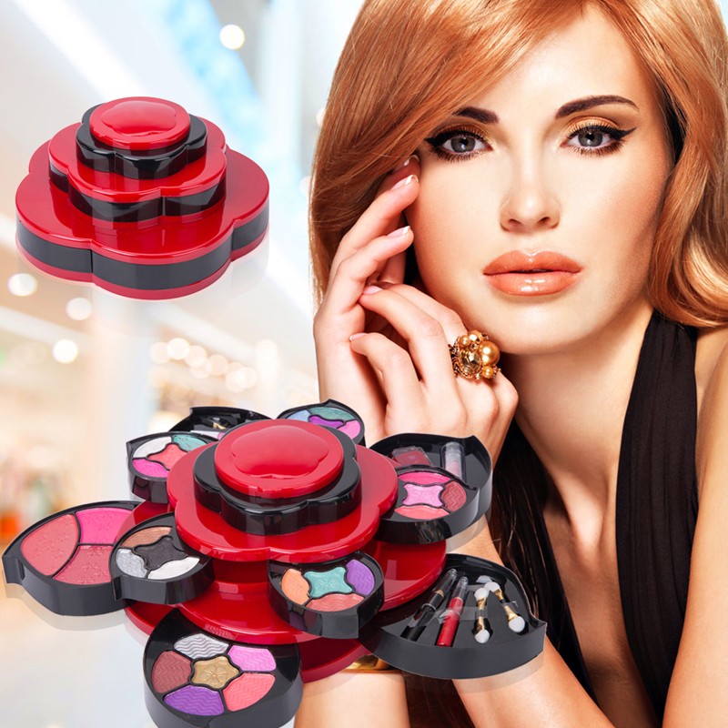 Makeup Set Palette Eye Shadow Powder Blusher Lipgloss Eyebrow Pencil Cream Double Sponge Brush Cosmetic Kits <br>