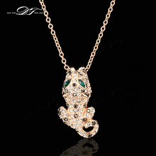Charming Cubic Zirconia Leopard Necklaces & Pendants Rose Gold Color Fashion Vintage Jewelry For Women Accessiories DFN093
