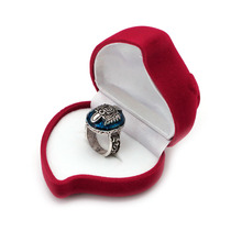 Heart Shaped Jewelry Ring Box Velvet Red Rose Pattern Love Ring Storage Display  T52
