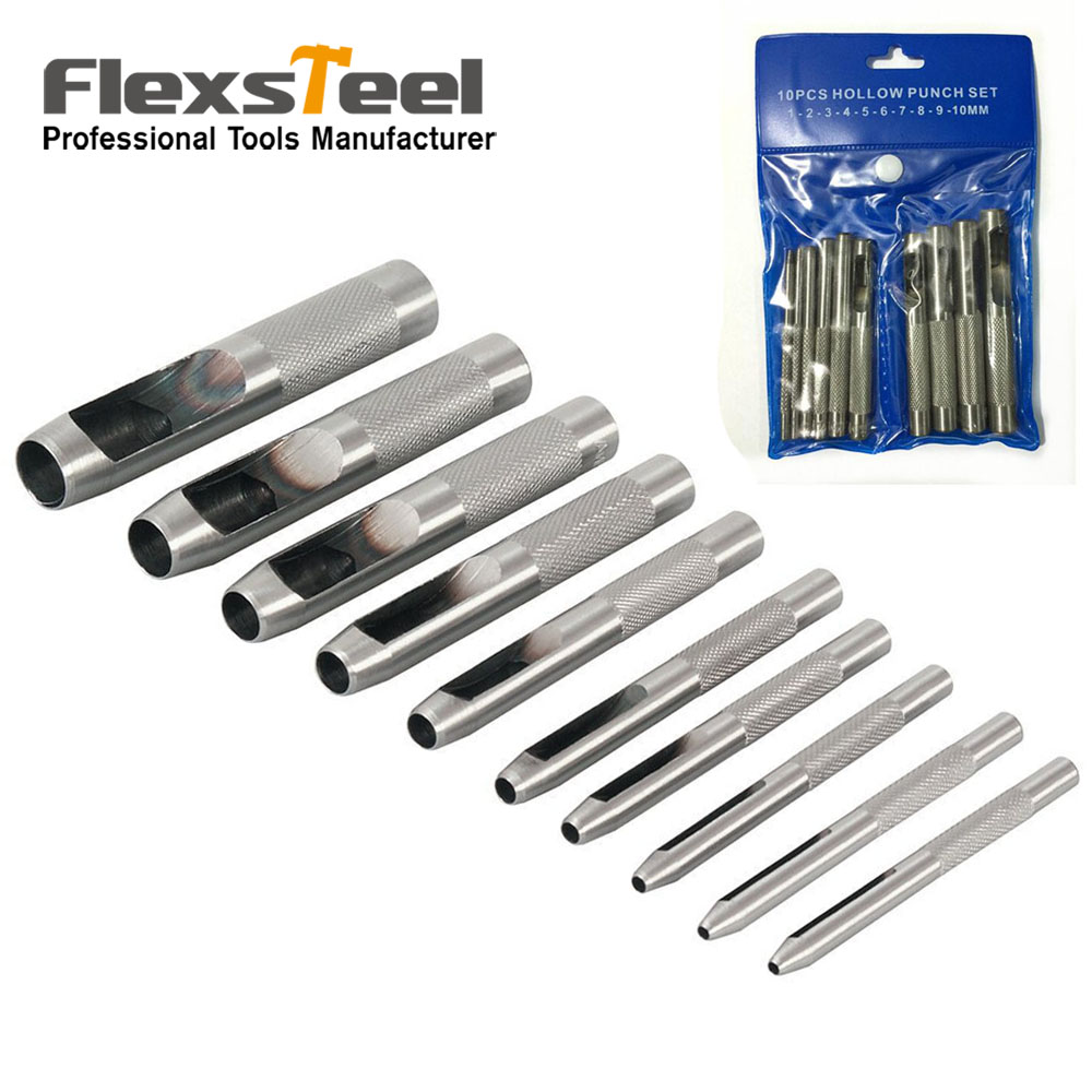 10 Pieces 1-10mm Hole Punch Tool Round Steel Hollow Puncher Drill for Leathercraft DIY Belt Watch Band Gasket Leather Craft Tool<br><br>Aliexpress
