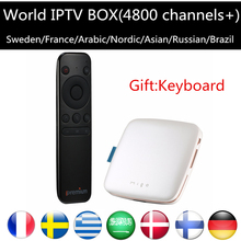 IPTV Box+Migo Android 5.1 1G/8G 2.0Hz With Sweden Arabic France Europe iptv server Android TV Box KO MAG 254 250 free ship