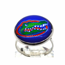 Ring University of Florida NCAA Charms Round Glass Dome Silver Plated  Ring For Women Girl Adjustable  GDR0111