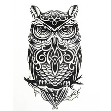 Large Black Owl Arm Fake Transfer Tattoo Stickers Temporary Tattoos Hot Sexy Men Women Spray Waterproof Designs