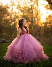 2016 princess rose red fuchsia puffy tulle ruffles ruched backless corset long flower girl dresses birthday prom pageant gown(China)