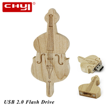 CHYI USB 3.0 Flash Drive Wooden violin USB Pen Drive Memory Stick Pendrive 8GB 16GB 32GB 64GB Thumb Drive Gifts for PC Computer