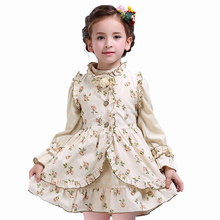 Spring girl's princess dress kid's Cotton robe Children Retro royal vest Lantern sleeve 2 pcs preppy clothing for baby