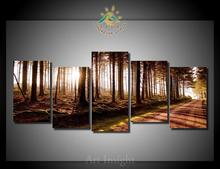 5 Pieces/set The sun in the wood Wall Art Paintings Picture Print on Canvas for Home Decoration Wall Art Picture for Living Room(China)