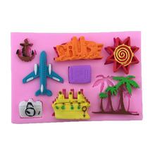 1PCS Food Grade Silicone Plane,Coconut tree, Ship Shape For Silicone Cake Molds, Fondant Cake Decorate M018(China)