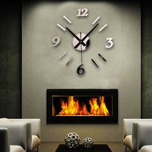 Brand new DIY Wall Clock 3D Mirror Surface Sticker Home Office Decor Clock Free Shipping