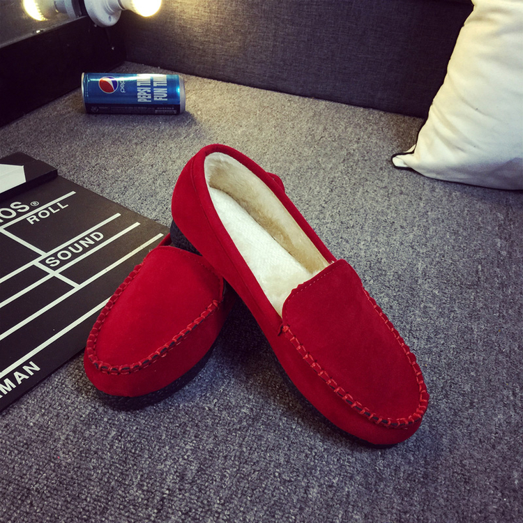 2017 Winter Fur Lined Women flock Loafers Slip-on Ladies Moccasins Soft Warm Plush Flat Driving Loafers Boat Shoes Woman shoes<br><br>Aliexpress