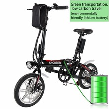 ANCHEER Mini 14 inch Foldable Electric Power Bike Bicycle with Lithium-Ion Battery Anti-shock Front Disc Brakes Electric Bike