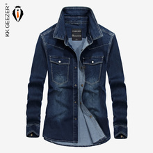 Black Denim Shirt Men Long Sleeve Autumn Dark Blue Military Casual Shirts High Quality Brand Collar Loose Pocket Dress Shirt(China)