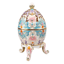 Big Faberge egg jewery trinket box Russian craft royal Russian egg trinket box bejeweled bling jewelry collectibles gifts(China)