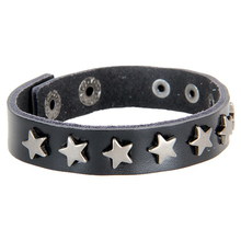 Cheap Price Wholesale Mens Jewelry Fashion Stars Stud Bracelet Vintage Leather Bracelet 2017 hot sale