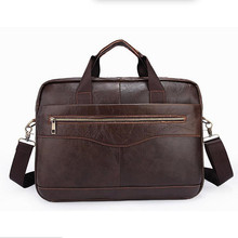 Genuine Leather Briefcases 14 inches Laptop Bags Men's Briefcase Dress Business Handbag Cowhide Work Soft Cowhide Bag Men Gift(China)